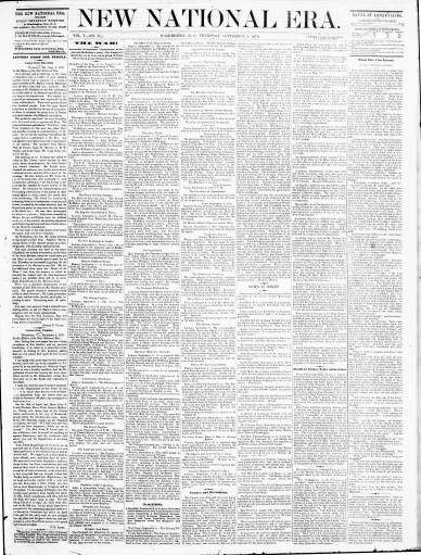 New National Era, Sept 8 1870, with Frederick Douglass as new main editor, image Library of Congress