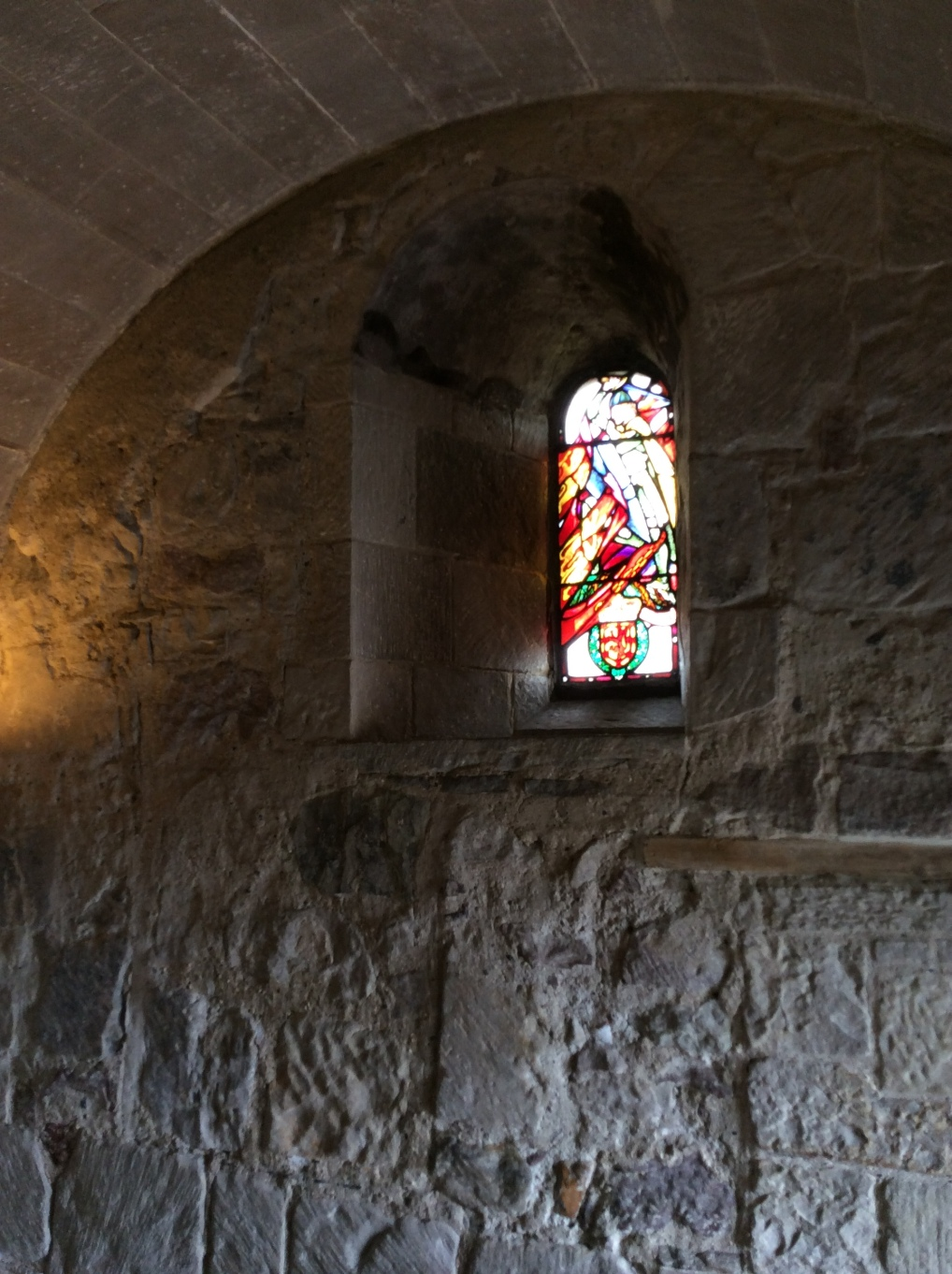Decorated medieval arch in St Margaret's Chapel, Edinburgh Castle