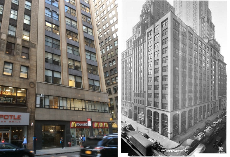 280 Madison Ave, Manhattan NYC, 2016 Amy Cools, and as it was in 1945 by Wurts Bros, courtesy of the Museum of the City of New York