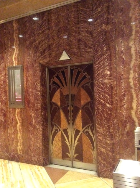 Elevator door in the Chrysler Building, Manhattan, NYC