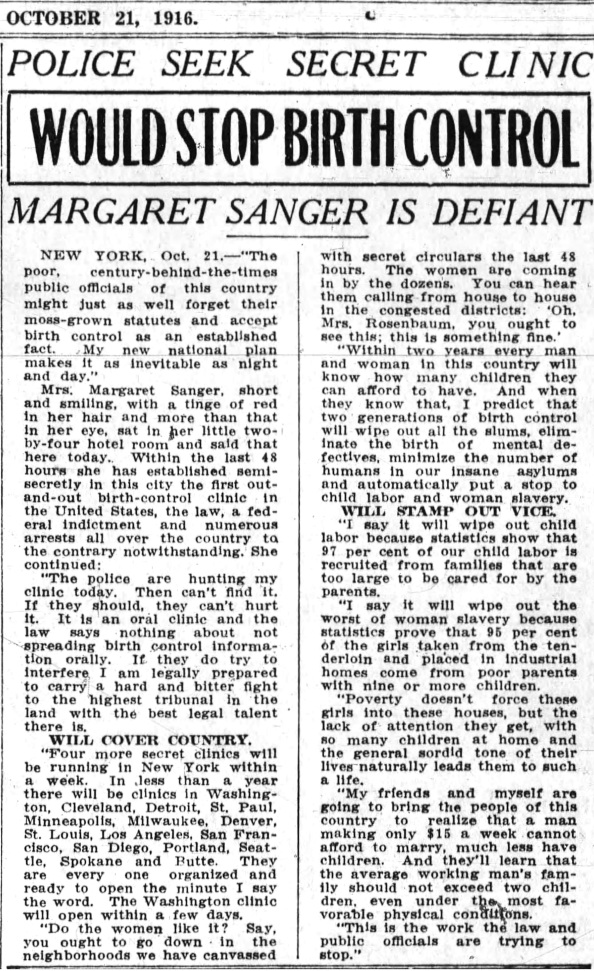 Oakland Tribune Article about Margaret Sanger's NY clinic, Oct 21, 1916 evening edition