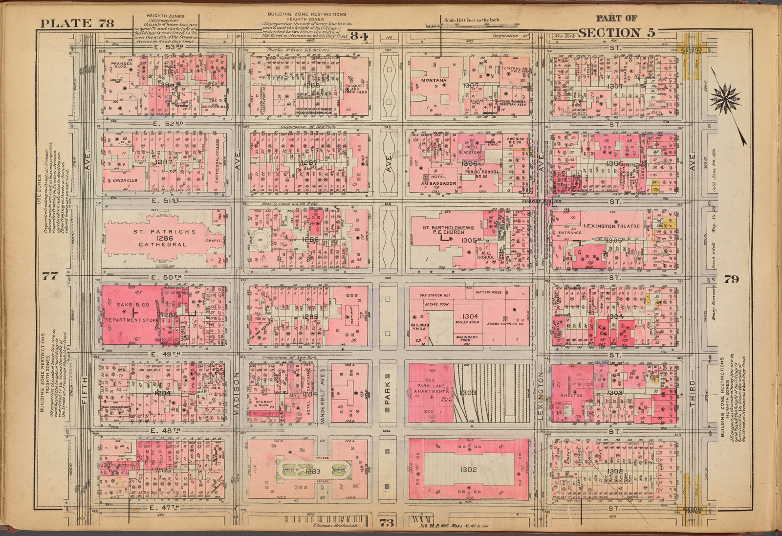 1921 Gw Bromley Atlas Of Nyc Plate 78