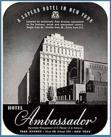 Ambassador Hotel, Park Ave, New York City midcentury advertisement