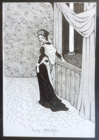 My illustration of Leonard Cohen's Lady Midnight, from about 1997 - 1998