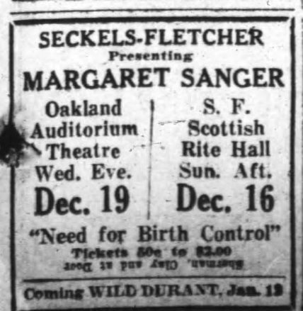 Margaret Sanger Speeches, Announcement for Oakland and S.F, in the Oakland Tribune, Sun Dec 16, 1928
