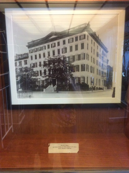Photo of the original Hotel Brevoort in a glass case in The Brevort lobby