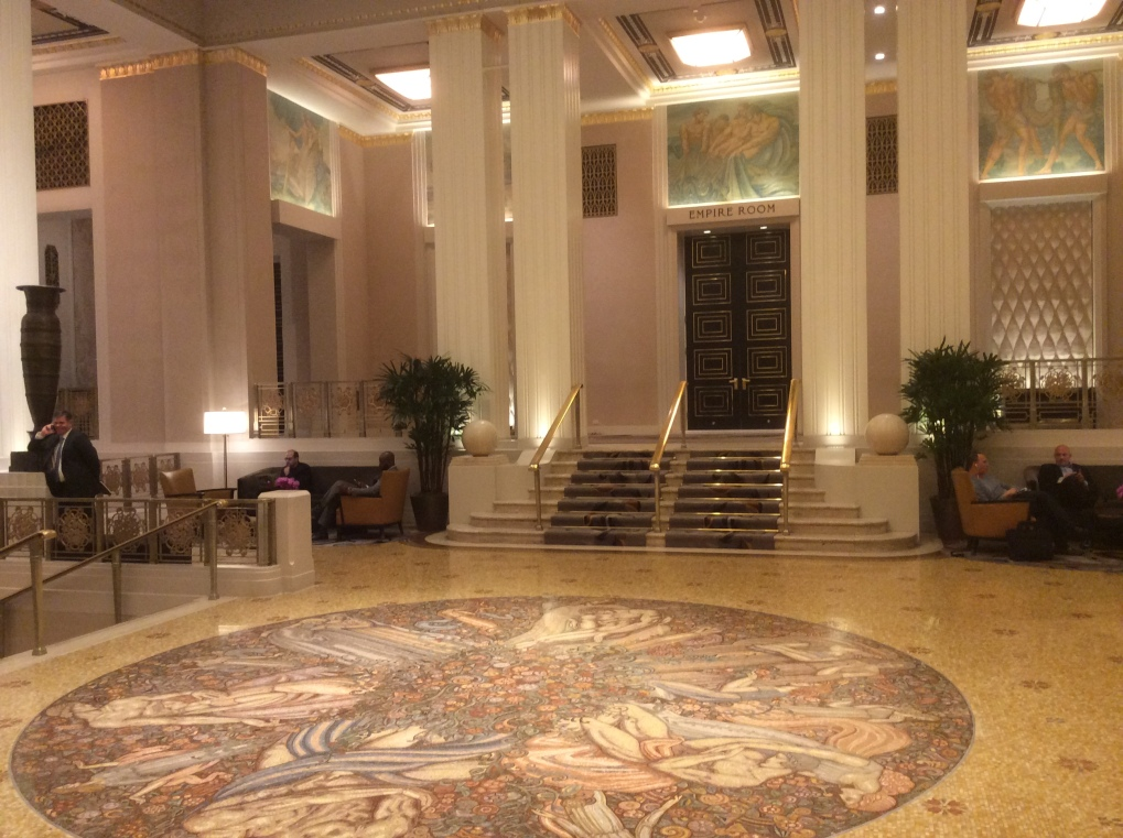 The front lobby of the Waldorf-Astoria. I snapped this photo in a brief moment between the stream of guests elegantly attired to attend some special event