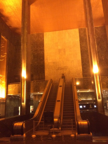 The Rockefeller Center's central escalator