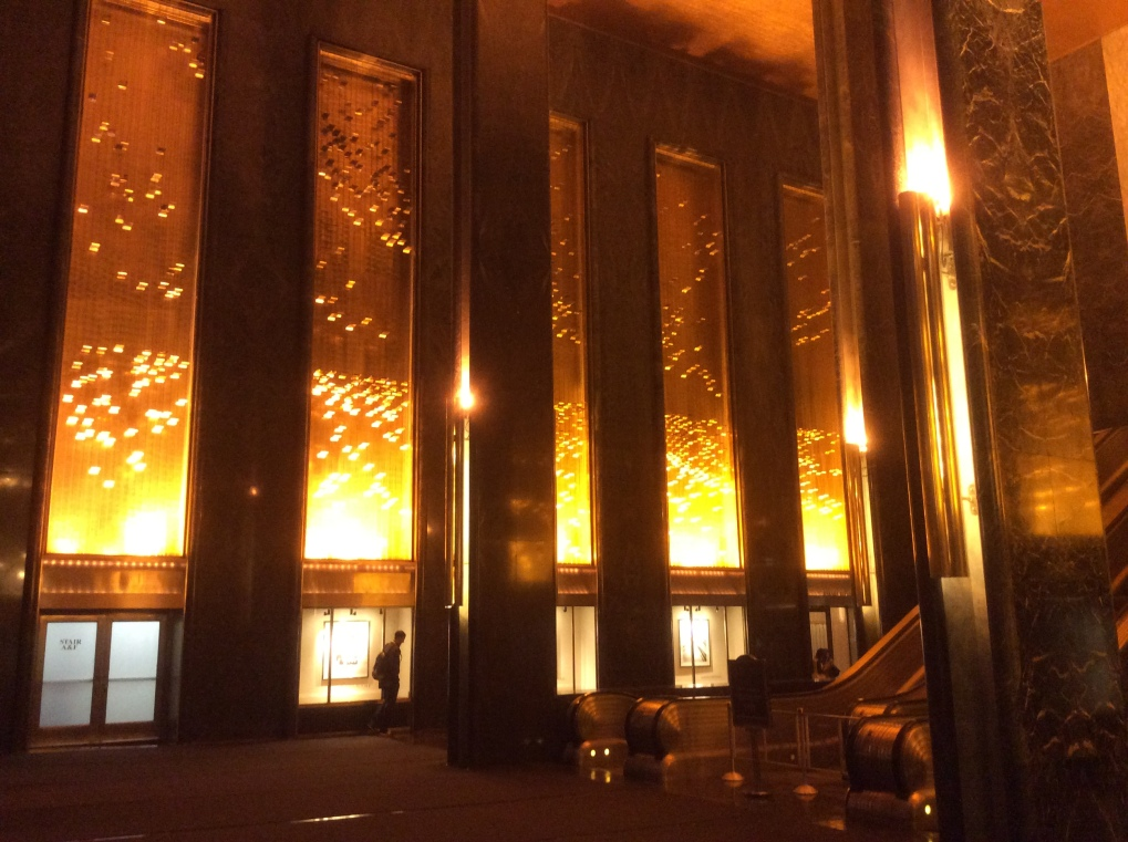 The Rockefeller Center's glowing lobby