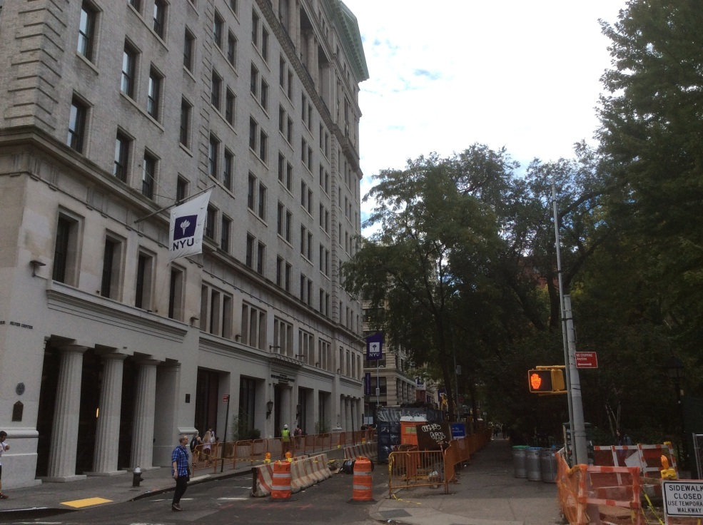 NYU's Silver Center at Washington Square Park, at the southeast corner of Waverly and University at the northeast corner of the park
