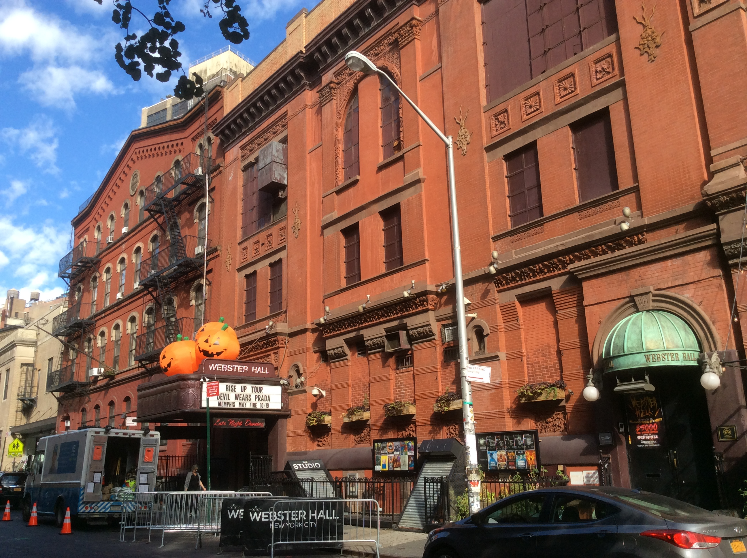 Webster Hall in October, festooned with pumpkin decorations, New York City