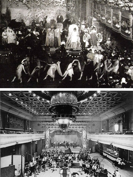 Two views of Webster Hall's Grand Ballroom, public domain via Wikimedia Commons. Above, a Costume Ball probably in the nineteen-teens or early twenties. Below, an orchestra prepares to record 'How to Succeed Without Really Trying' in 1961, public domain via Library of Congress