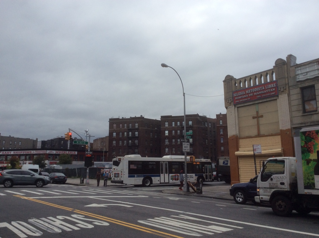 163rd St at Amsterdam. 503 163rd St. used to face where the bus is now. NYC, 2016 Amy Cools