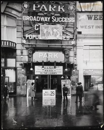 Entrance of the Park Theater, formerly the Majestic, Columbus Circle, 59th St, NY, courtesy of MCNY
