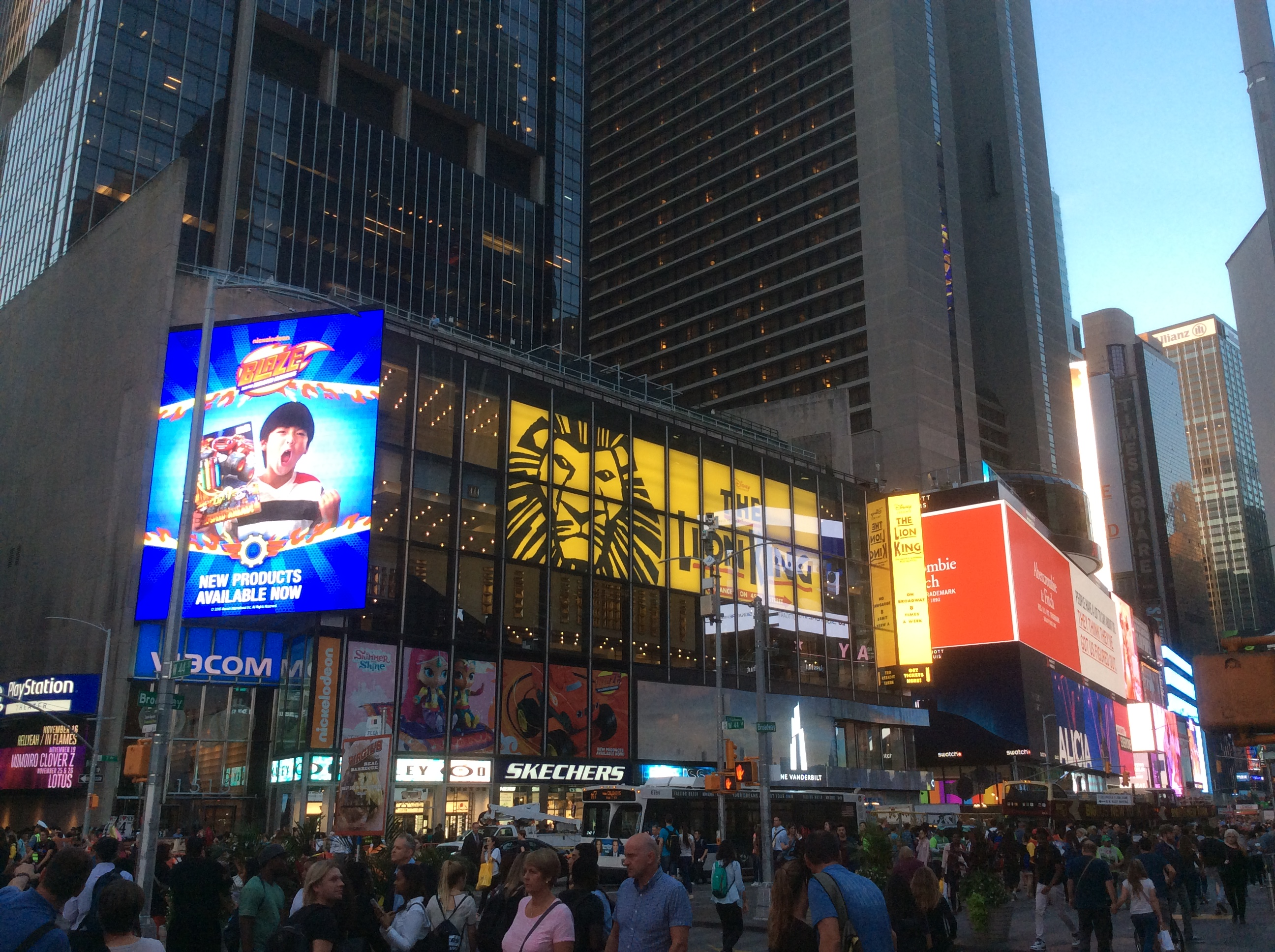 Hotel Astor behind row of lighted billboards on Times Square, NYC, photo 2016 by Amy Cools