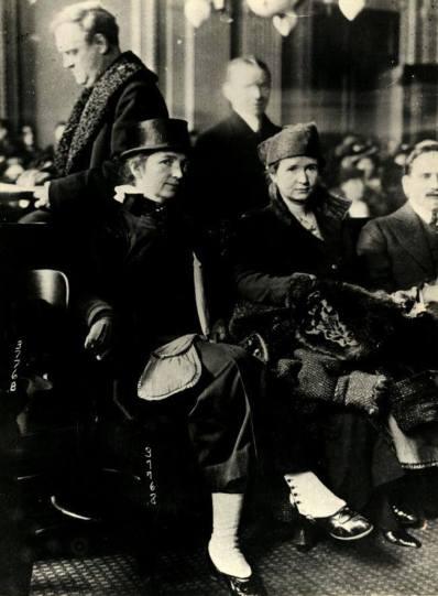 Margaret Sanger and Ethel Byrne in court, 1916, image public domain