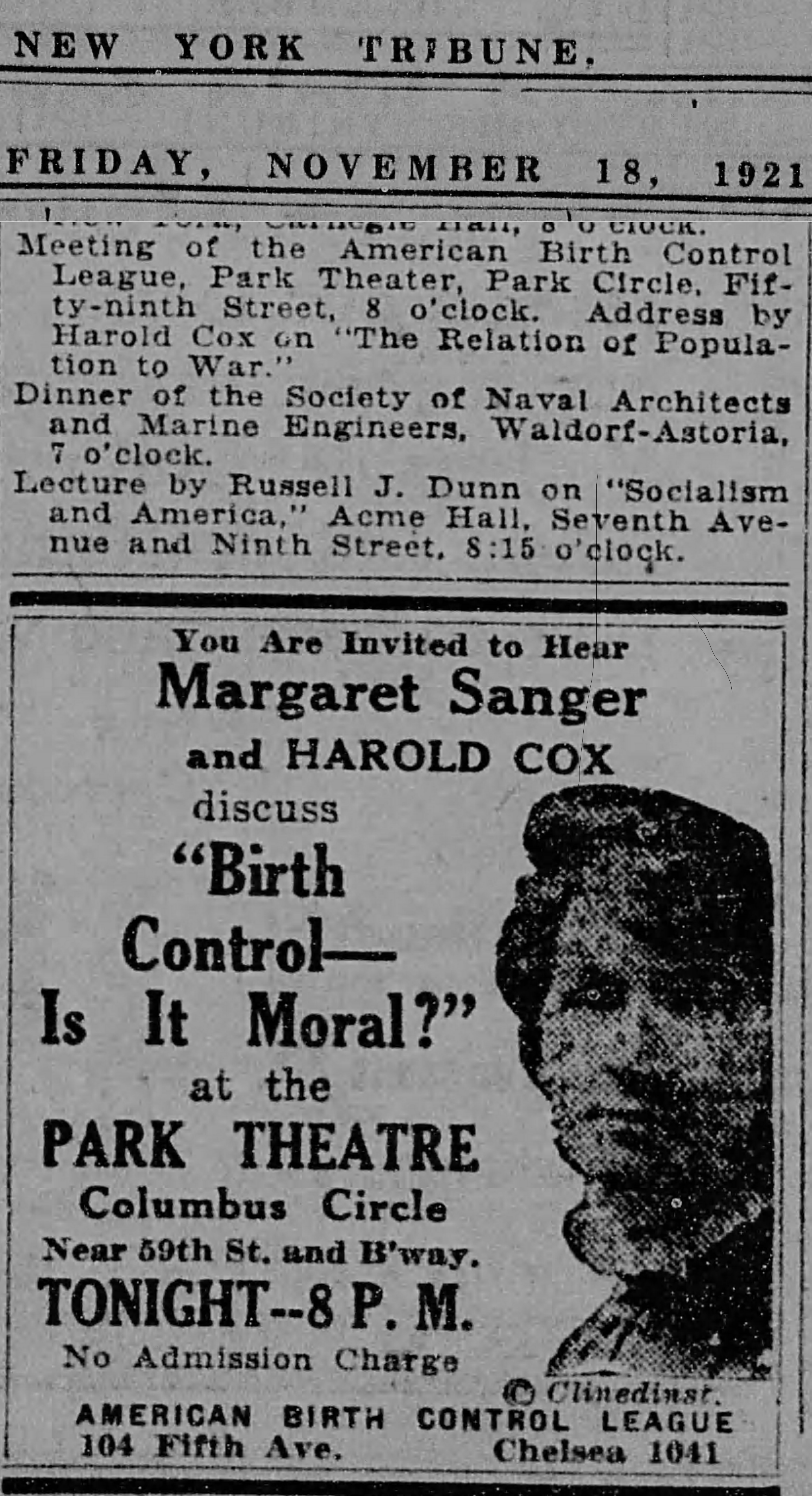 New York Tribune Fri Nov 18 1921, Park Theater Cox Speech
