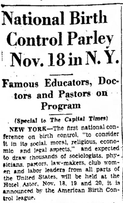 The Capital Times, Thu Oct 3, 1929, ABCL National Convention clipping, from Newspapers.com