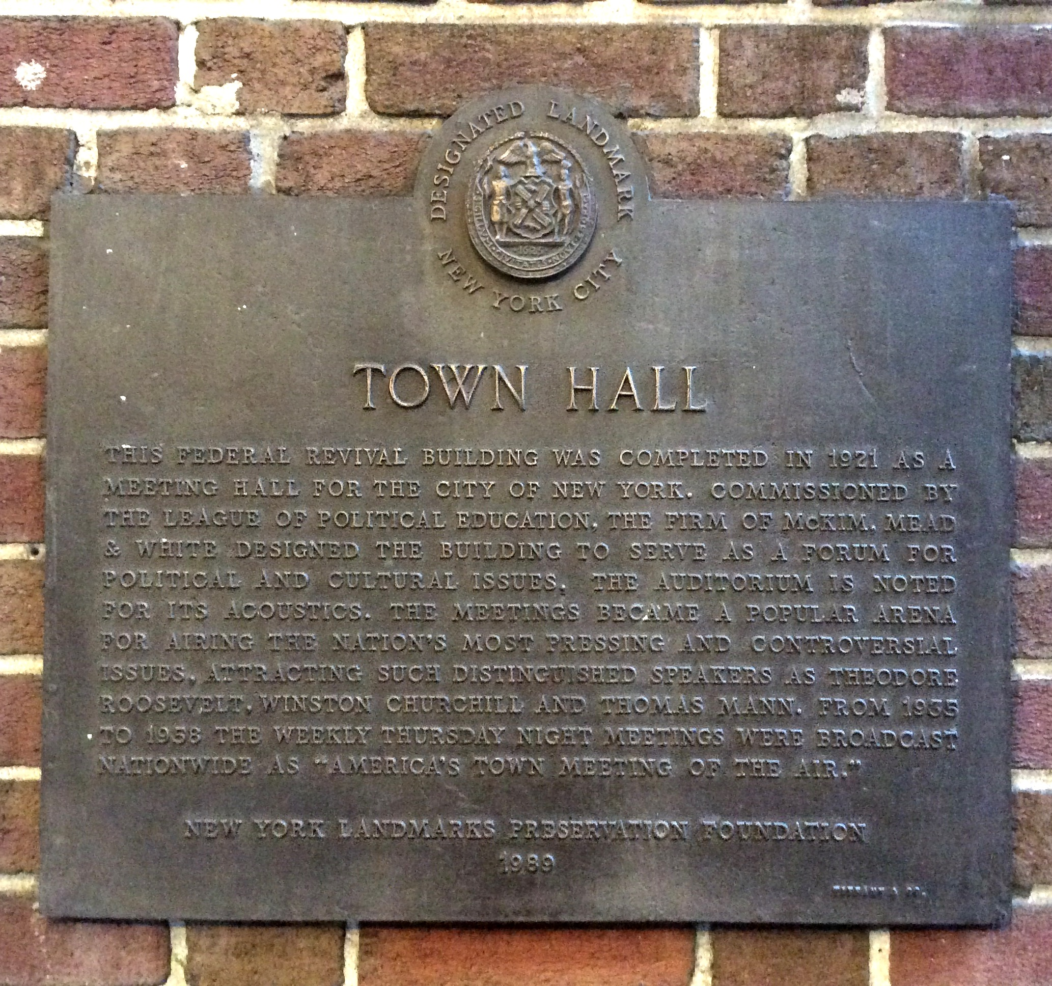 The Town Hall Building historical plaque, New York City, photo 2016 by Amy Cools