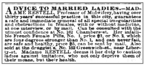 Advice to Married Ladies Madame Restell abortion ad in the New York Times, Nov 9th 1865