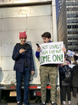 Two kids at the recent women's march in New York (photo by the Author)
