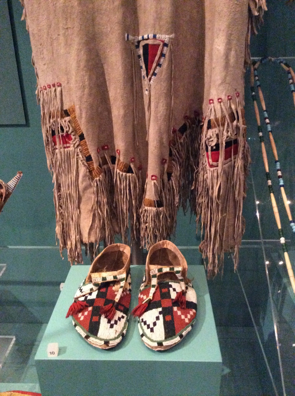 Blackfoot Beaded Dress and Kainai moccasins closeup, National Museum of Scotland
