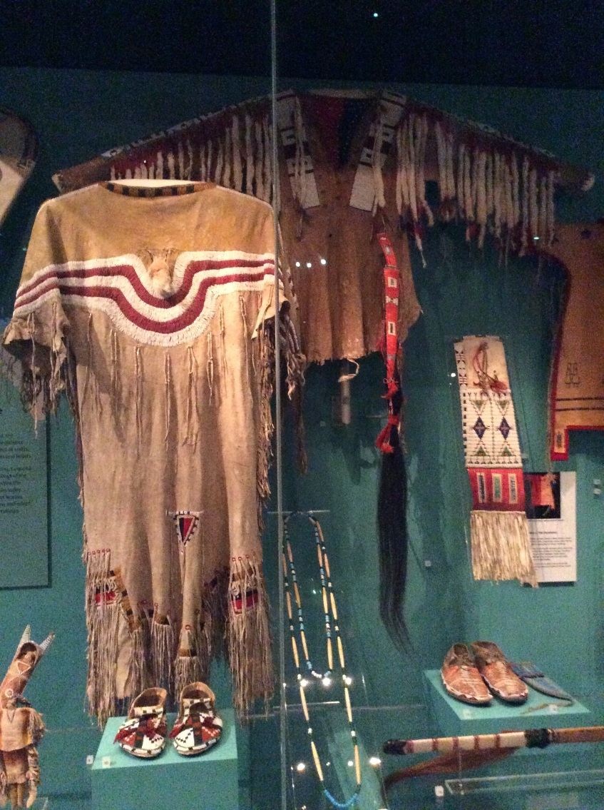Blackfoot Beaded Dress, Kainai moccasins, and Sioux buckskin shirt, National Museum of Scotland