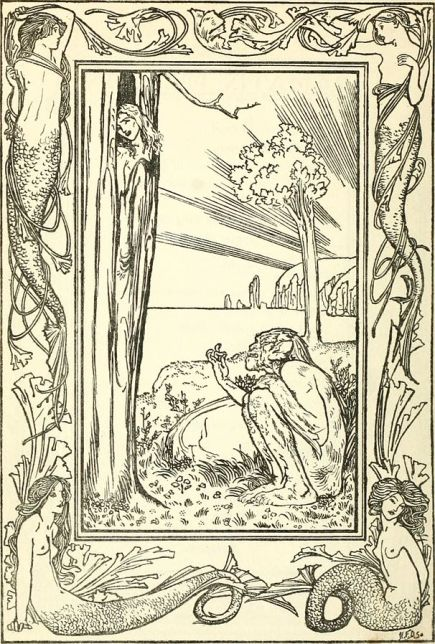 Caliban and Ariel, illustration for The Tempest by Robert Anning Bell, 1901, public domain via Wikimedia Commons