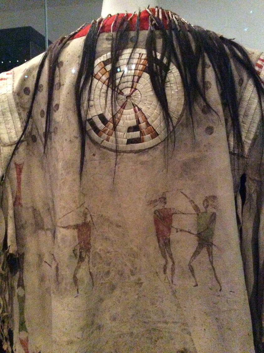 Chief Wana'ata of the Yantonai Sioux painted and hair trimmed shirt, back, closeup, National Museum of Scotland