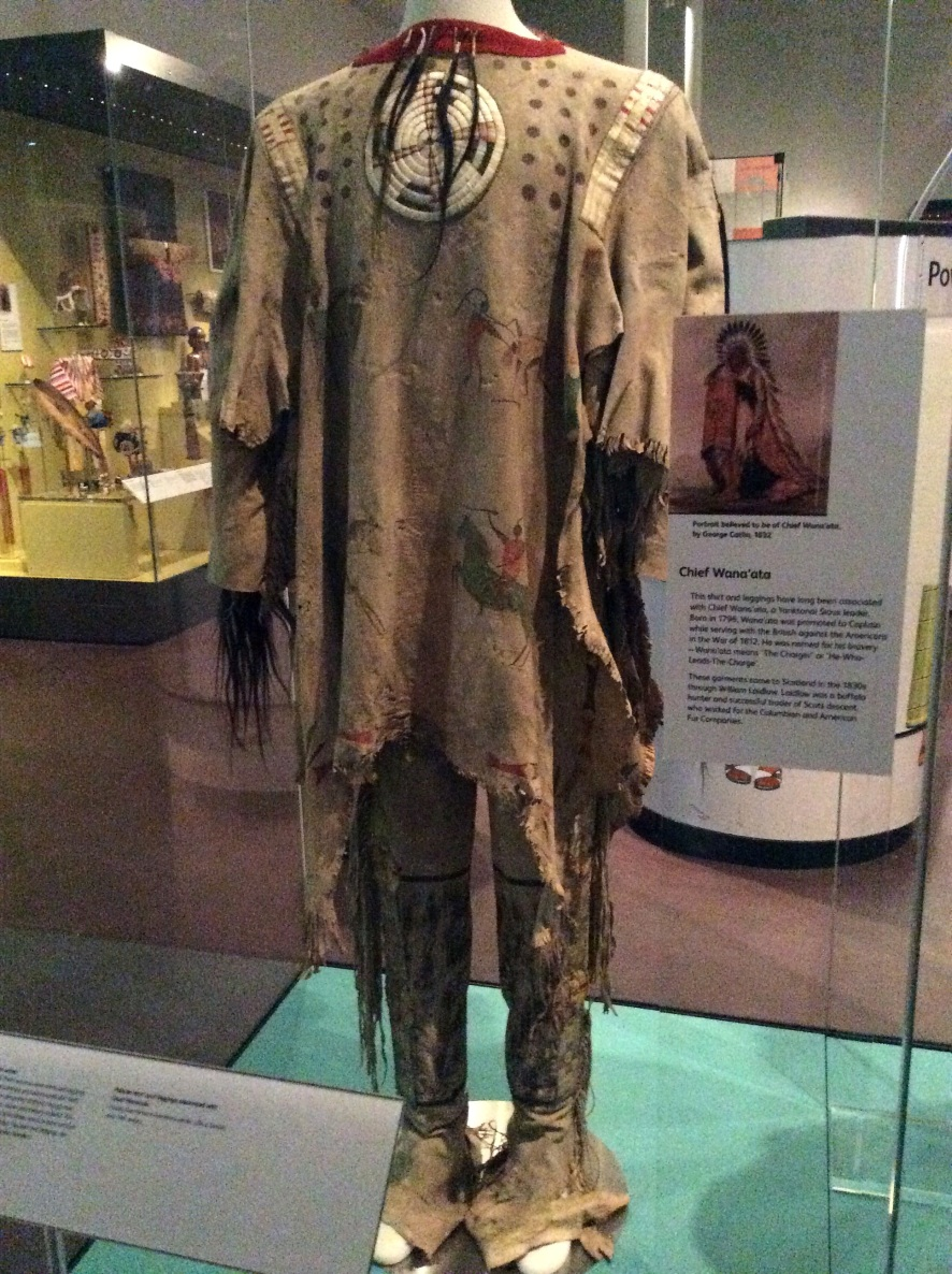Chief Wana'ata of the Yantonai Sioux painted and hair trimmed shirt with leggings, National Museum of Scotland