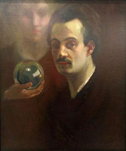 Khalil Gibran, Autorretrato Con Musa, 1911, public domain via Wikimedia Commons