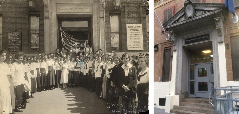 Left, Young Women's Hebrew Association Flag Ceremony at 31 West 110th Street, 1918. Right, LCF doorway at this address today