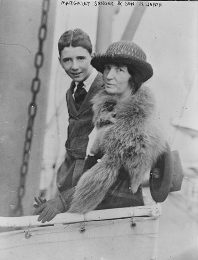 Margaret Sanger and her son in Japan, 1922, public domain via Library of Congress