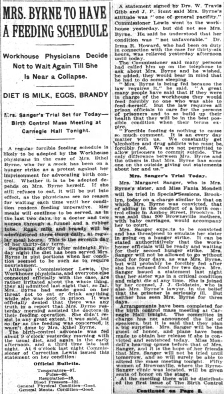 Margaret Sanger, Ethel Byrne, Carnegie Hall, New York Times Jan 29th, 1917, p 1