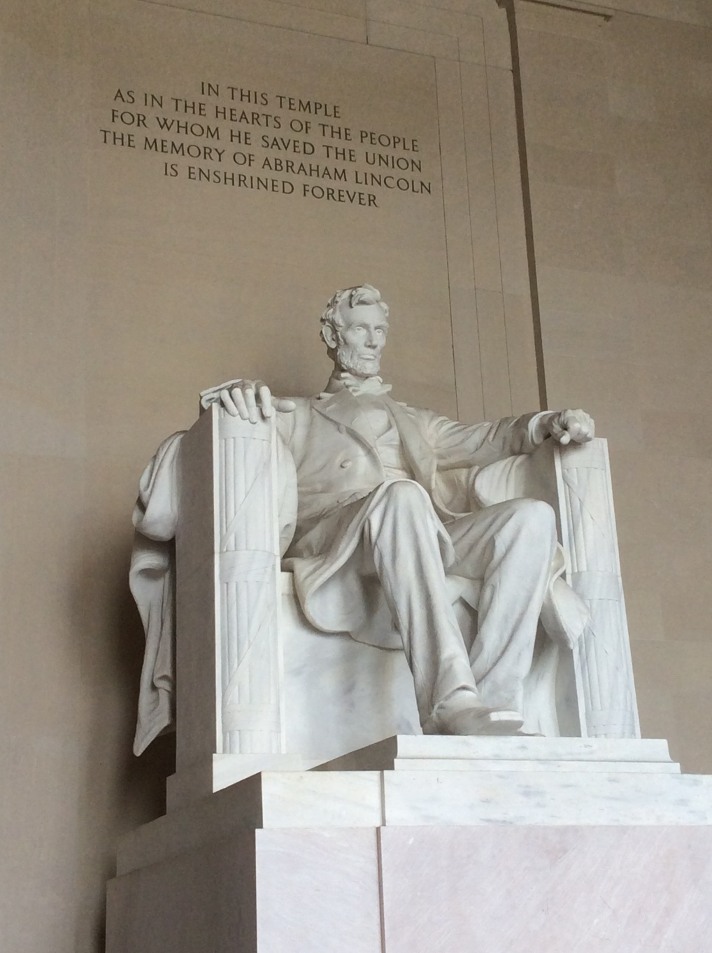 Sculpture of Abraham Lincoln in the Lincoln Memorial, Washington DC, photo 2015 by Amy Cools