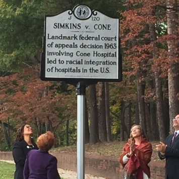 Historical marker for landmark decision of Simkin v. Cone, 1963