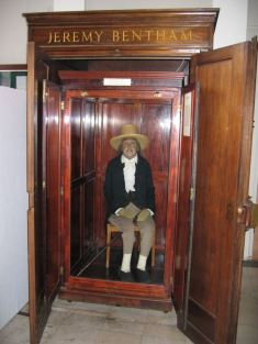 Jeremy Bentham's Auto-Icon at University College London, 2003 by Michael Reeve, GNU Free Documentation License Version 1.2