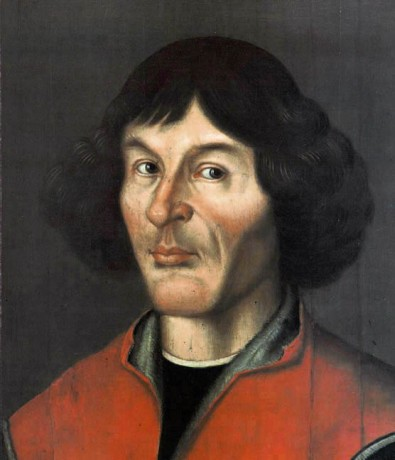 Nicolaus Copernicus portrait from Town Hall in Toruń, ca.1580, public domain via Wikimedia Commons