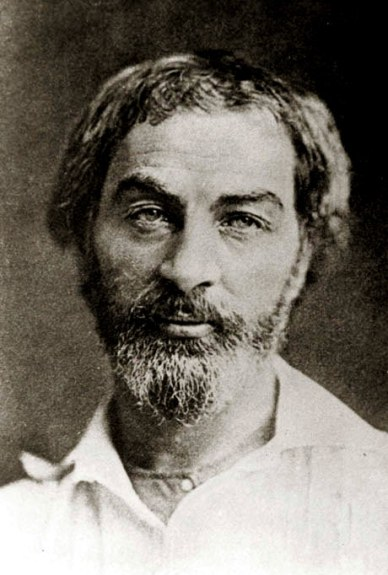 Walt Whitman in 1854, Daguerreotype, Photographer unknown probably Gabriel Harrison, public domain via Wikimudia Commons