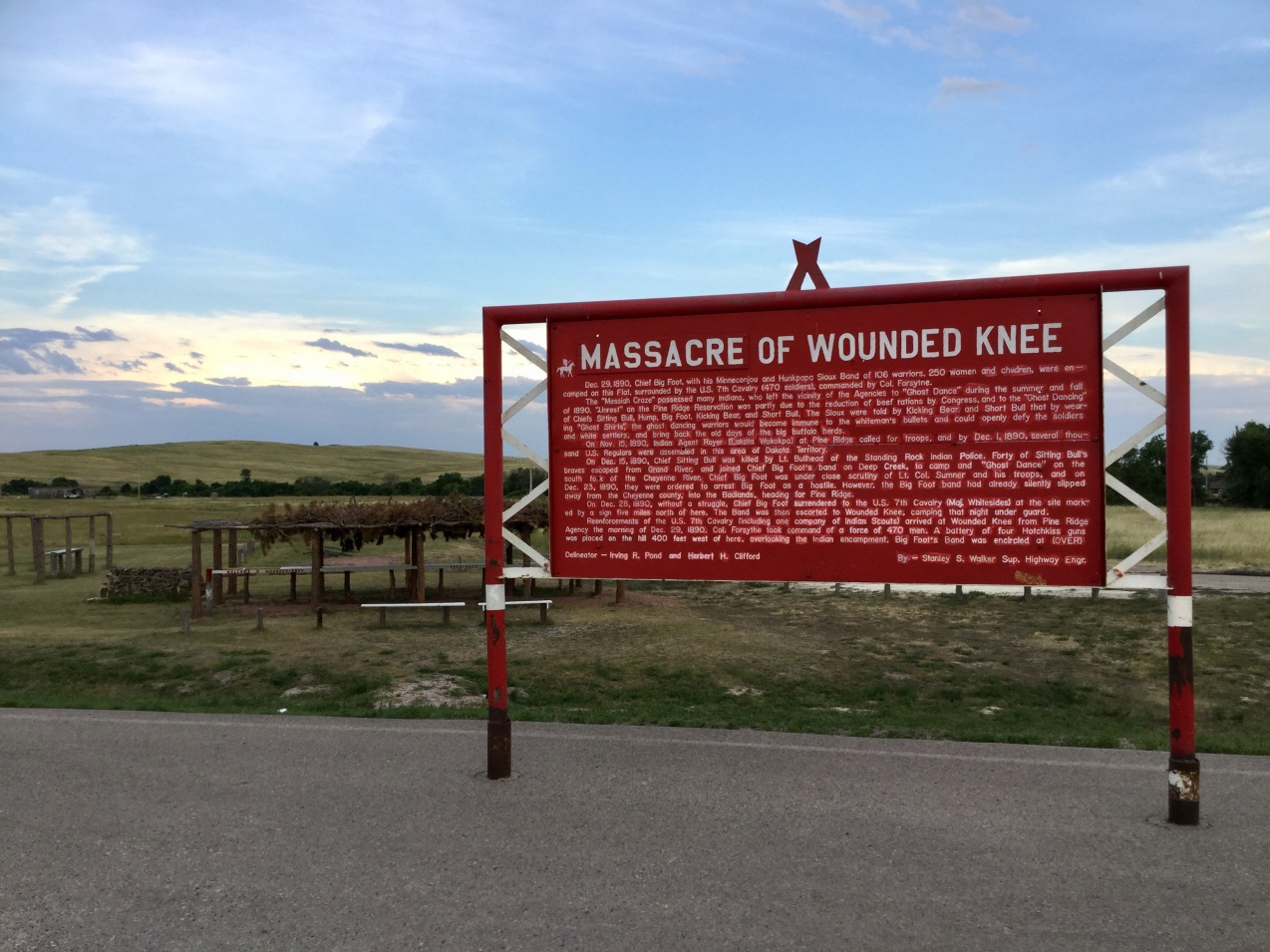 Wounded Knee historical sign, front side, Pine Ridge Reservation, South Dakota, 2017 Amy Cools
