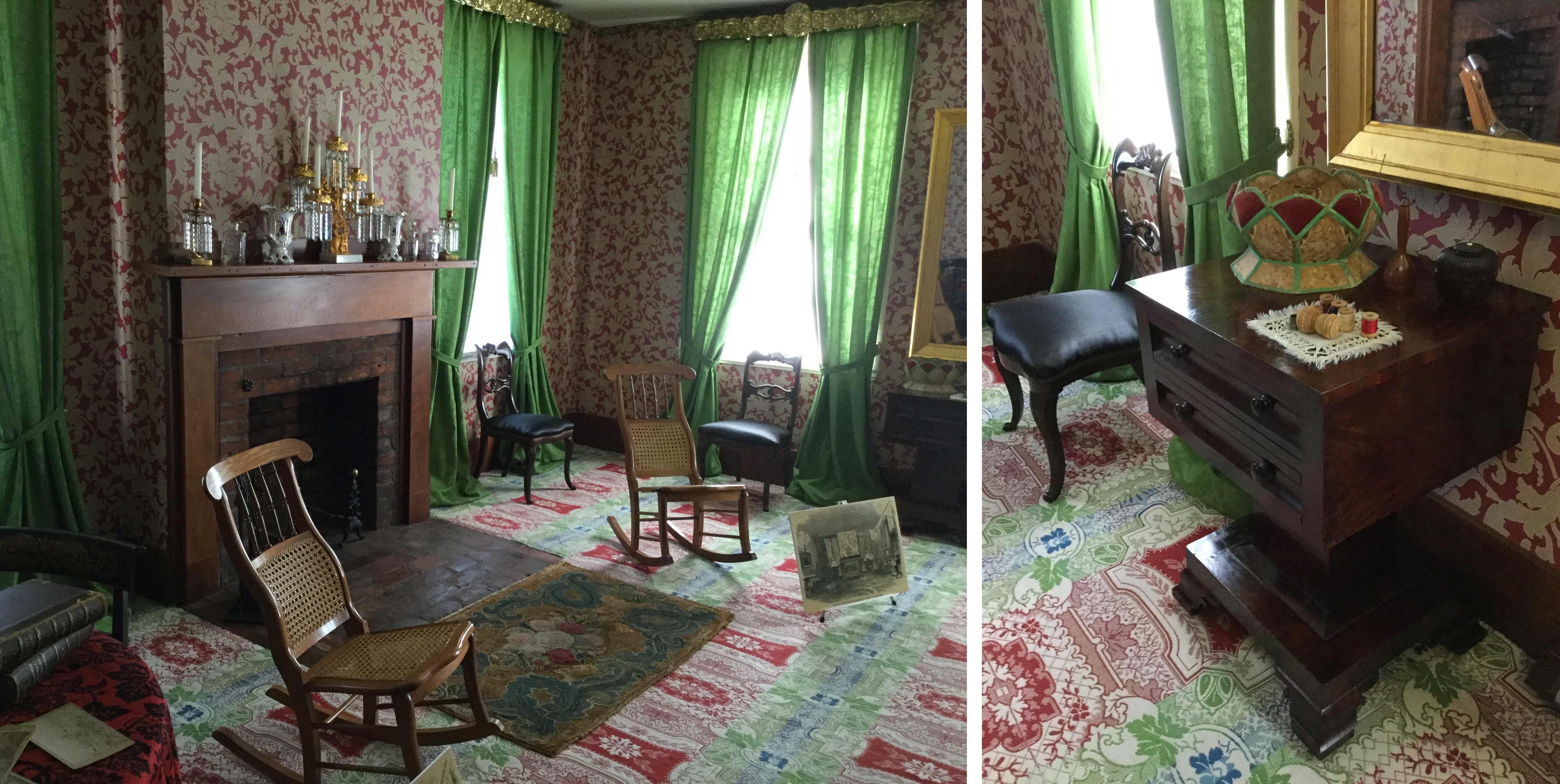The Lincoln Home Living Room, With A Closeup Of Mary Todd Lincolnu0027s Sewing  Table At The Right