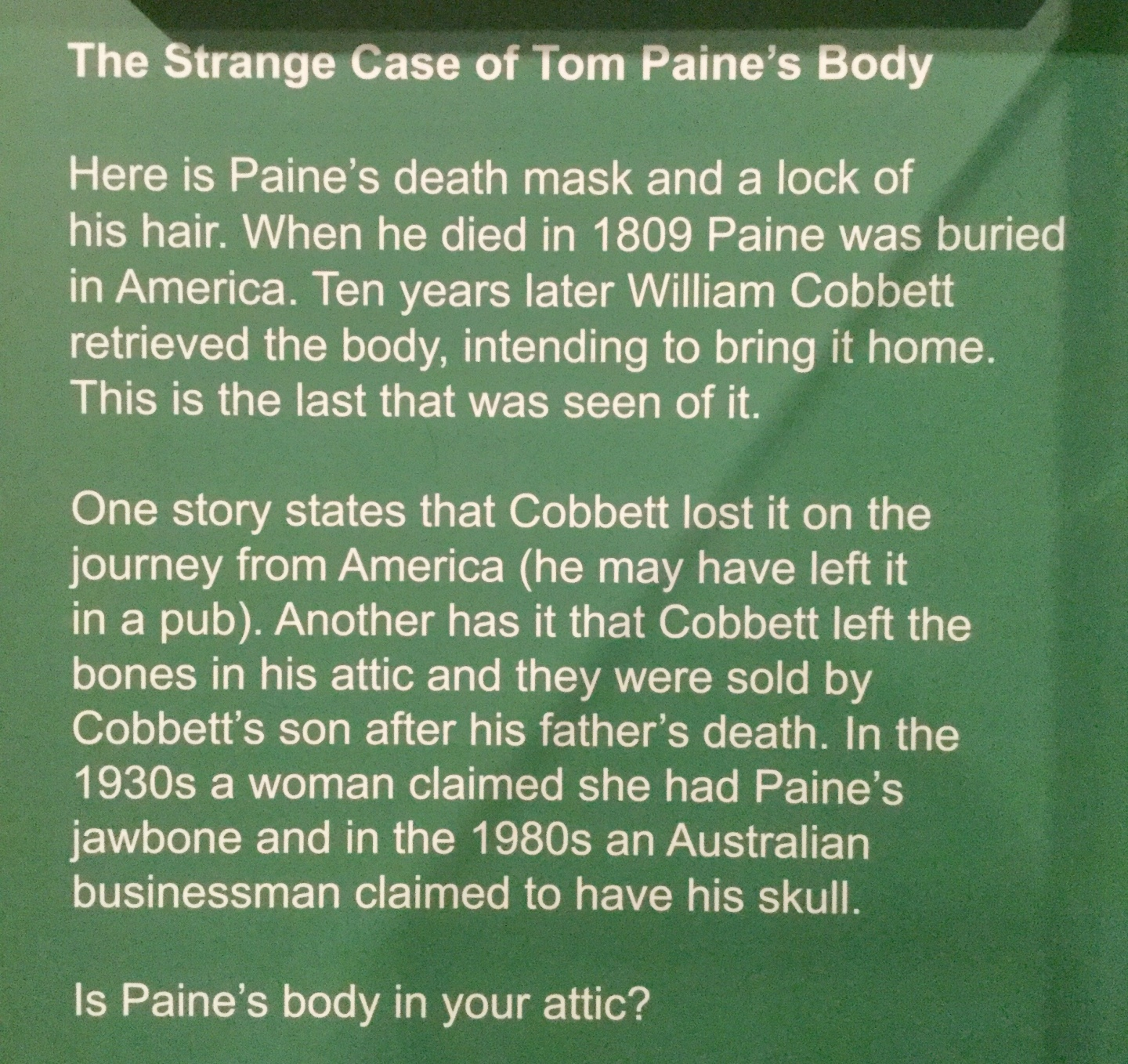 Thomas Paine display placard at the People's History Museum, Manchester, England, 2018 Amy Cools