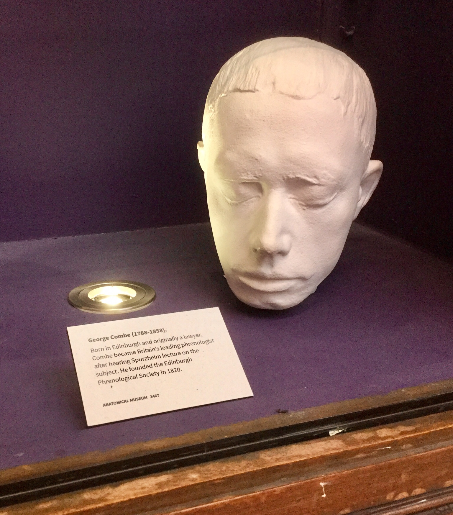 Life mask of George Combe, Anatomical Museum, Old Medical School, University of Edinburgh, 2018 Amy Cools